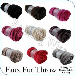 Shiny Plush Ribbed & Super Soft Faux Fur Sofa Bed Throw Blanket