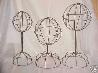 lot 3 assorted vintage look wire hat stands displays time