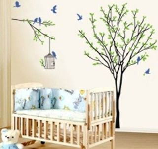 Newly listed F LARGE TREE WITH BIRD CAGE WALL STICKER DECAL  CHILDREN