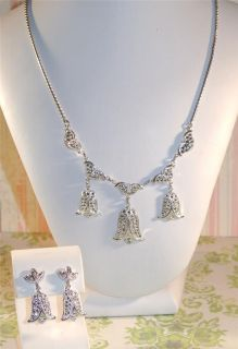 ART DECO STERLING Silver MARCASITE Tulip DROPS NECKLACE EARRINGS SET