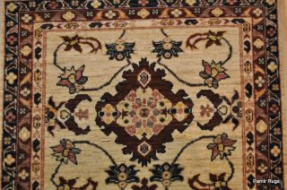 10.5 foot long hall runner handmade hand woven rug blue, cream brown