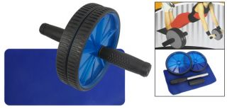 Black Blue Plastic AB Wheel Abdominal Fitness Exercise Roller w Knee