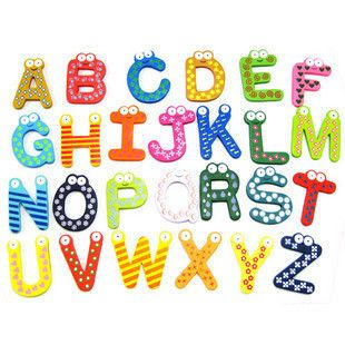 Wooden Fridge Magnet Alphabet Number Kids Educational Toy Baby Gift 4