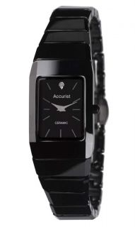 Accurist Ladies Rectangular Black Ceramic Bracelet Watch LB1652