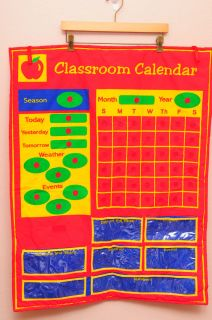 Kids Red Classroom Calendar Weather Day Month Year Seasons Homeschool