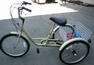 Gomier 3 Wheel Adult Tricycle 24 Trike 6 Speed Bike Ivory