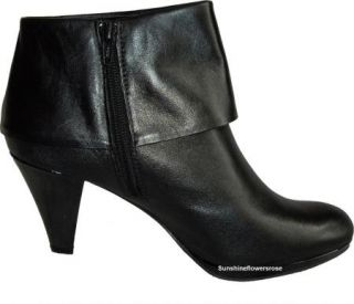 AK ANNE KLEIN $119 YASMYNE BLACK LEATHER ANKLE CUFF BOOTIES BOOTS