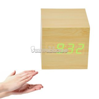 LED Display Sound Activated Digital Alarm Clock Thermometer SH
