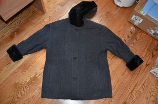 Albert Nipon Boutique Wool Winter Dark Gray Fur Womens Coat Jacket EUC