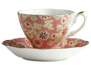Royal Albert Peach Vintage Floral Teacup and Saucer New