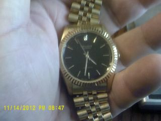 junk drawer find antique Gruen Mens Diamond watch Gold Tone.