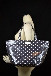 KATE SPADE NWT Anabel Dizzy Dot Tote Bag Navy Cream Blue Canvas Purse
