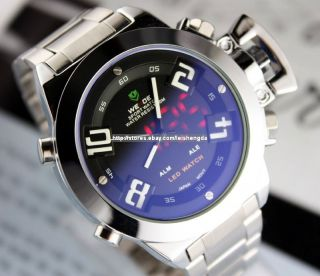Mens Analog Digital LED Date Stainless Steel Watch New
