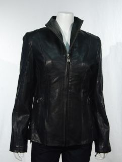 NWT Andrew MARC New York Womens Black Leather Jacket Lambskin Zip Up