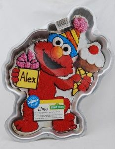 Wilton Cake Pan Birthday Party Hat Elmo Ice Cream EXC