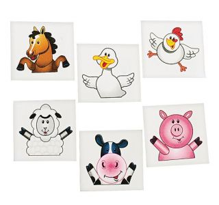 36 Assorted Farm Animal Tattoos Cow Horse Pig Party Favors