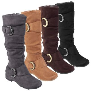 Anne Michelle by Journee Womens Buckle Accent Slouchy Mid Calf Boots