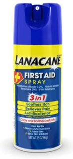 10 Lanacane First Aid Spray 3 in 1 Itch Pain Reliever Anti Bacterial 3