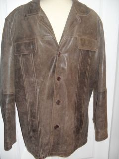 MENS ANGELO LITRICO SNAPSHOT DISTRESSED BROWN LEATHER JACKET COAT