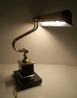 Vintage Antique Student Piano Bankers Desk Table Lamp Art Deco Brass