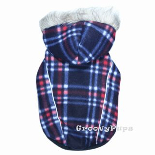 912 s L Blue Check Thick Fleece Hooded Coat Dog Clothes