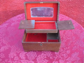 Antique Vintage Wooden Wood Jewelry Box Chest Mirror Music Musical Key