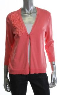 Anne Klein Pink 3 4 Sleeves V Neck Hook Front Cardigan Top Sweater M