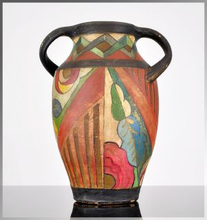 Unique 1920s French Art Deco Hand Painted Earthenware Vase RARE