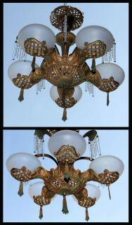 Art Deco 5 Glass Globe Ceiling Light Fixture Chandelier Arches Sprays