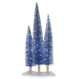 Pre Lit LED Blue Artificial Village Christmas Tree Trio