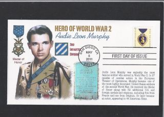 AUDIE MURPHY MOH MEDAL OF HONOR WWII PURPLE HEART FIRST DAY CACHET