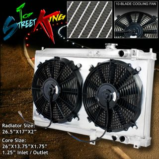 Full Aluminum 2 Row Racing Radiator Dual Fan Shroud Black