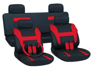 15pc Set Red Black Auto Car Seat Covers Free Steering Wheel Belt Pads