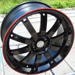 22 HD AUTO BAHN BLACK WITH RED LINE WHEELS RIMS MAGNUM CHARGER