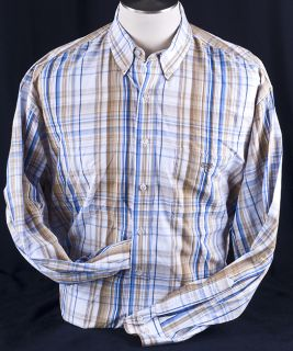 Lucchese Classics Brown Blue Plaid Mens Long Sleeve Western Shirt Sz