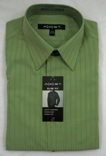 New Mens Axist Slim Fit LS Dress Shirt Sage Green