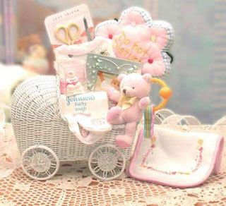 Bundle of Joy Baby Carriage Gift Basket Pink for Girl