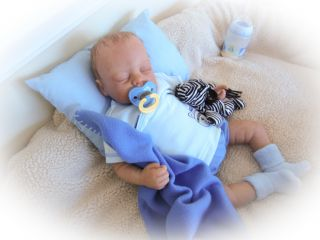 Reborn Baby Doll Sweet Baby boy with Human Hair, No Allergic Reactions