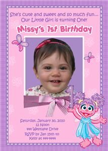 Abby Cadabby Elmo Sesame Street Custom Photo Birthday Invitations