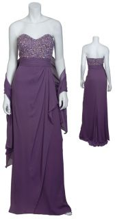 Badgley Mischka Stunning Violet Strapless Beaded Gown Evening Dress 8