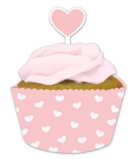 Pink heart Baking Cups Cupcake Wrappers + Picks baby shower birthday