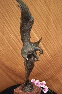 Signed American Bald Eagle Bronze Sculpture Statue Figure Art Deco