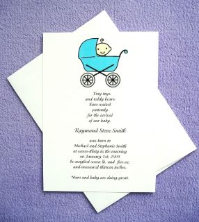 20 Personalized Custom Baby Boy Announcements Invitations Cards