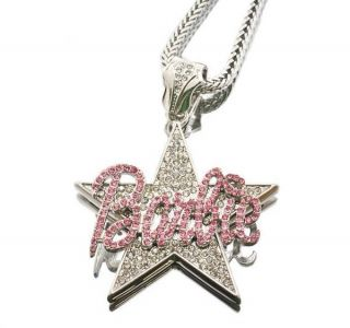 Nicki Minaj Star Barbie Pendant Franco Chain Necklace Pink Gold Silver