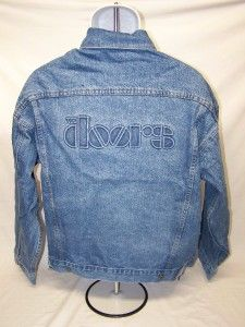 The Doors Embossed Logo Light Blue Denim Jacket New