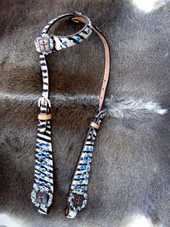 LEATHER HEADSTALL CROSS CONCHOS BARREL RACING HAIR ON ZEBRA HB008