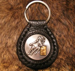 Barrel Racing Rodeo Concho Leather Key Chain Cowgirl n Cowboy n Horse