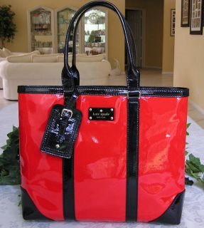 New Kate Spade Barclay Street Dama Patent Leather Tote Bag Purse Red