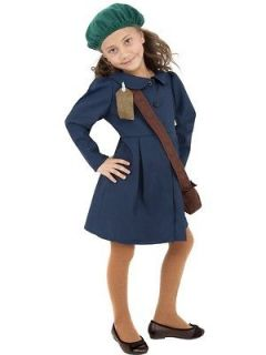 Child Age 7 9 World War II Evacuee Girl Kids Fancy Dress 1940s Costume