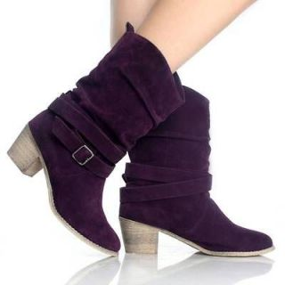 Purple Womens Cowboy Boots Western Cowgirl Roper Fashion Ladies Heels